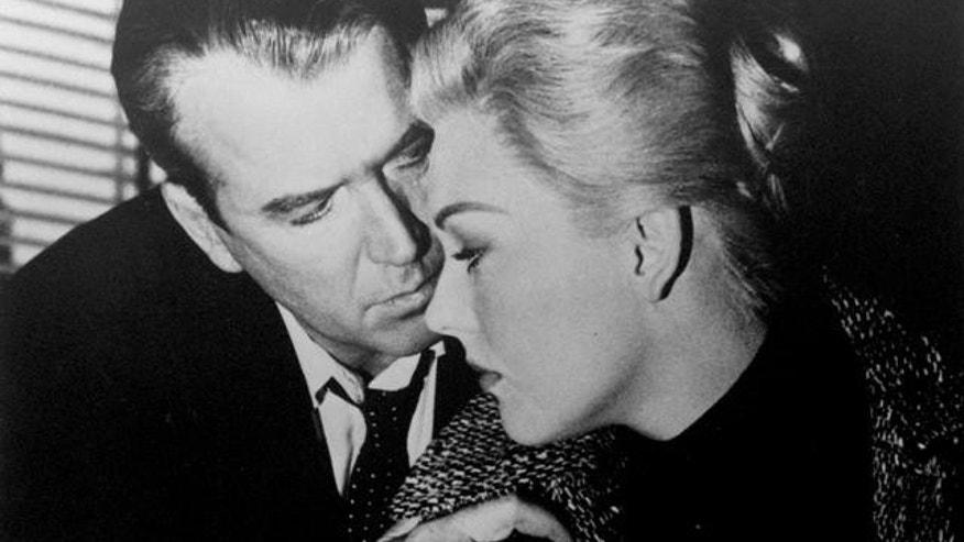 "James Stewart and Kim Novak in scene from movie, ""Vertigo."" (AP)"