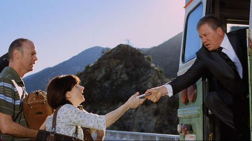 A scene from this Priceline commercial, just before Shatner's character's bus goes over a cliff (AP)