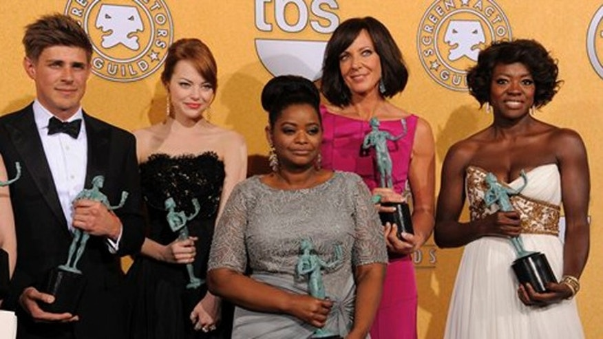 "Jan. 29, 2012: Castmembers of ""The Help"" pose backstage with their awards for outstanding performance by a cast in a motion picture at the 18th Annual Screen Actors Guild Awards."