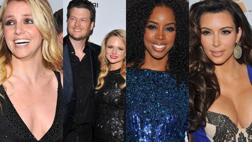 (L to R) Britney Spears, Blake Shelton and Miranda Lambert, Kelly Rowland and Kim Kardashian were among the celebrities partying Saturday while Whitney Houston's body was upstairs at the Beverly Hilton. (AP)