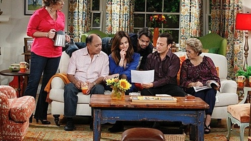 """Romantic Weekend""-- Rob (Rob Schneider) shares his and Maggie's romantic weekend plans with Rosa (Diana Maria Riva),  Fernando (Cheech Marin), Maggie (Claudia Bassols), Hector (Eugenio Derbez) and Abuelita (Lupe Ontiveros), on ""Rob,"" Thursday, February 23 (8:31 – 9:00 PM, ET/PT) on the CBS Television Network. Photo: Sonja Flemming/CBS ©2012 CBS Broadcasting Inc. All Rights Reserved."