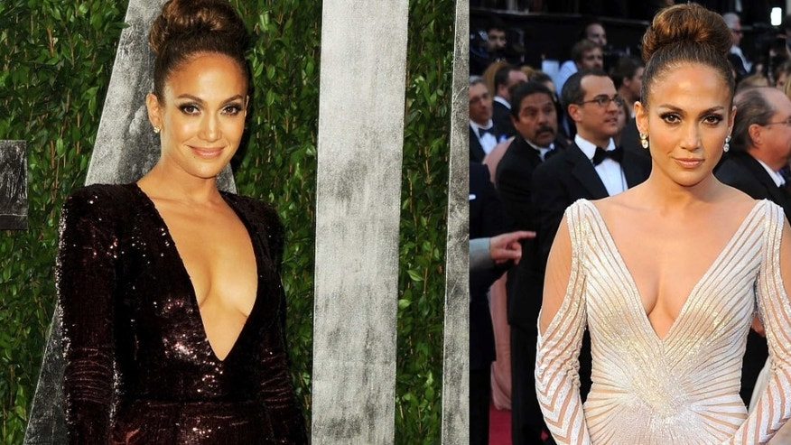 Jennifer Lopez wore both of these revealing dresses at Sunday night's 84th Annual Academy Awards show.
