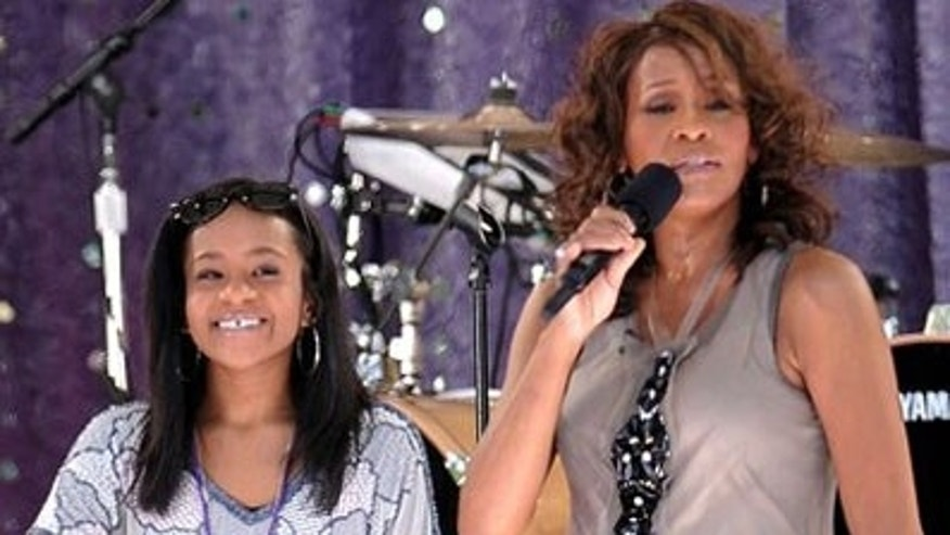 FILE - In this photo, singer Whitney Houston, right, sings with her daughter Bobbi Kristina Brown during a performance on 'Good Morning America' in Central Park in New York.