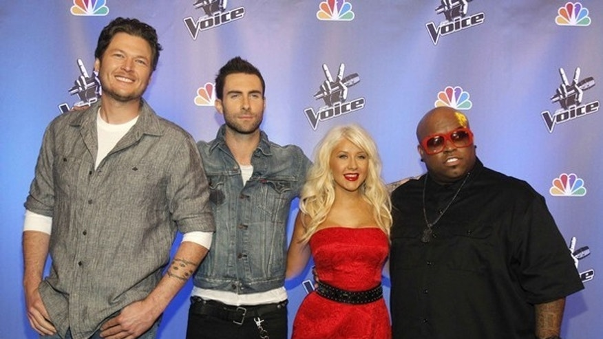 Blake Shelton, Adam Levine, Christina Aguilera and Cee Lo Green, celebrity coaches on 'The Voice.' (Reuters)