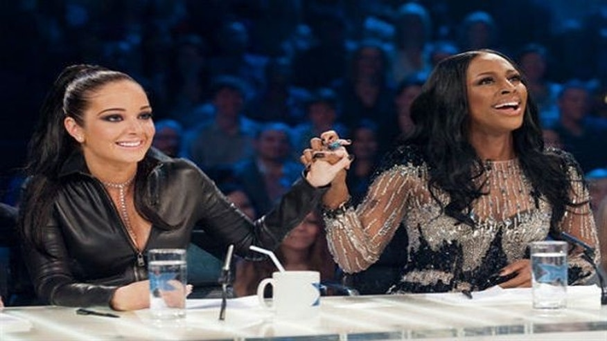 Tulisa Contostavlos and Alexandra Burke (l to r).