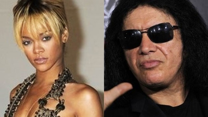 Gene Simmons (right) is apparently not a fan of Rihanna (AP)