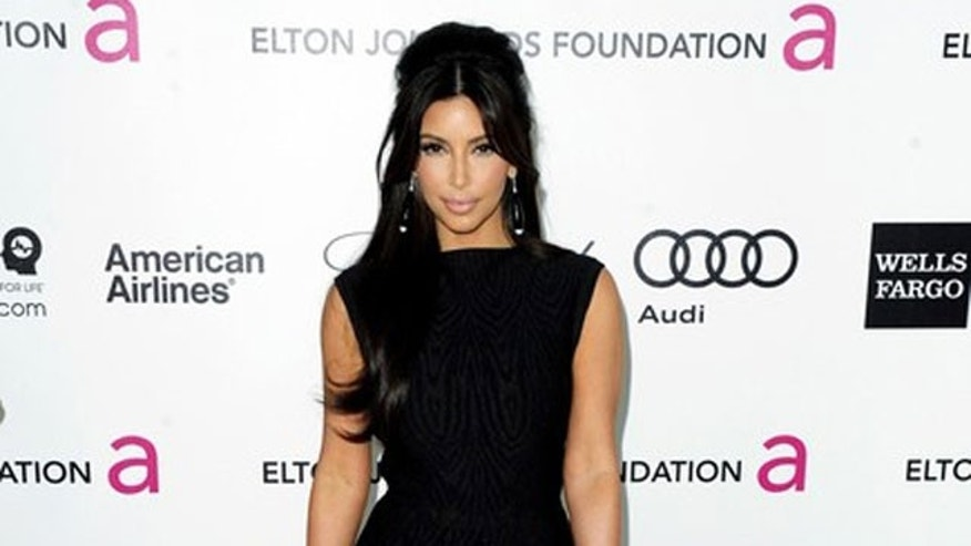 February 26, 2012: Television personality Kim Kardashian arrives at the 20th annual Elton John AIDS Foundation Academy Awards Viewing Party in West Hollywood, California.