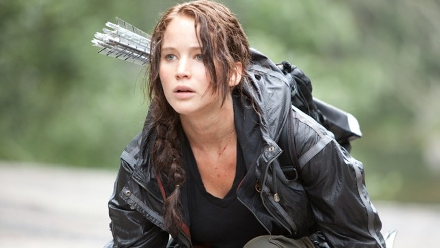 Jennifer Lawrence portrays Katniss Everdeen in a scene from 'The Hunger Games.'
