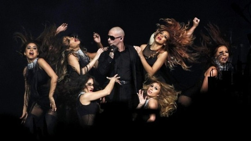 Feb. 26, 2012: Recording artist Pitbull performs during the half time show at the NBA All-Star game in Orlando, Florida.