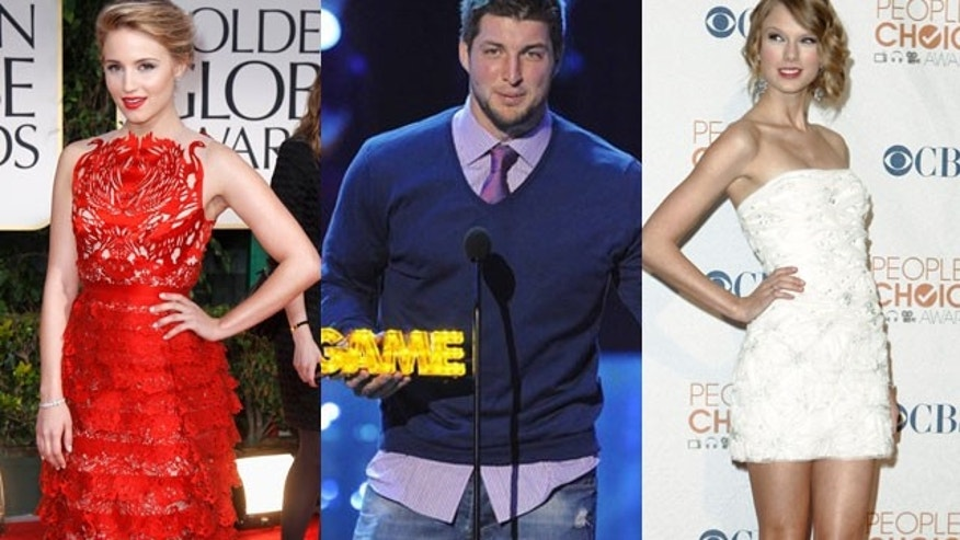 Is Tim Tebow caught between two gals, Dianna Agron (left) and Taylor Swift? (AP/REUTERS)