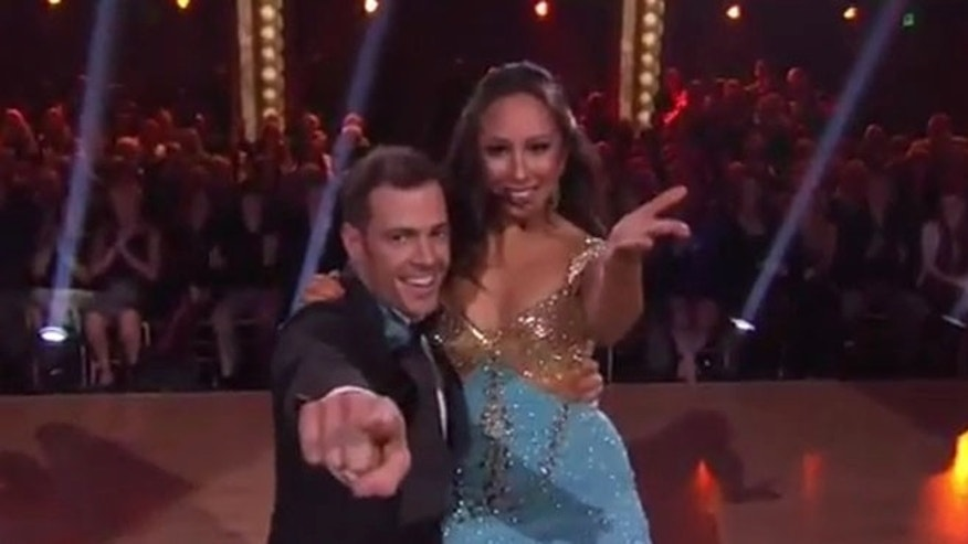 Telenovela actor William Levy and dancing partner Cheryl Burke on Dancing With the Stars Monday night.