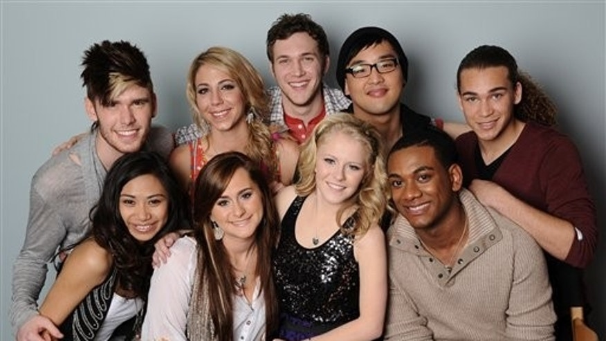 "FILE - In this image March 22, 2012 file photo originally released by Fox, the remaining nine contestants on the singing competition series ""American Idol,"" clockwise from top left, Colton Dixon, Elise Testone, Phillip Phillips, Heejun Han, DeAndre Brackensick, Josh Ledet, Hollie Cavanaugh, Skylar Laine and Jessica Sanchez are shown in Los Angeles."