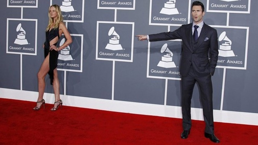 Feb. 12, 2012: Adam Levine of Maroon 5 and his girlfriend Anne Vyalitsyna arrive at the 54th annual Grammy Awards in Los Angeles, California.