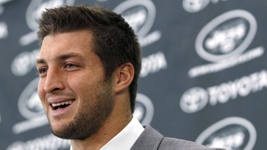 March 26: New York Jets quarterback Tim Tebow speaks at a news conference introducing him as a Jets.
