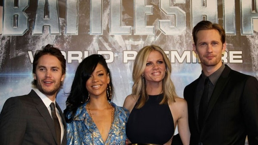 "April 3: The cast of ""Battleship,"" from left, Taylor Kitsch, Rihanna, Brooklyn Decker, and Alexander Skarsgard, pose for photographers during the world premiere of their movie in Tokyo."