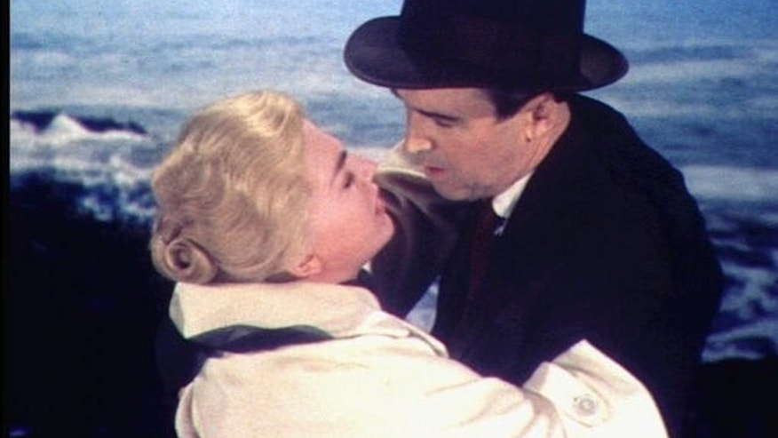 "Kim Novak and Jimmy Stewart in scene from movie ""Vertigo""(AP)"