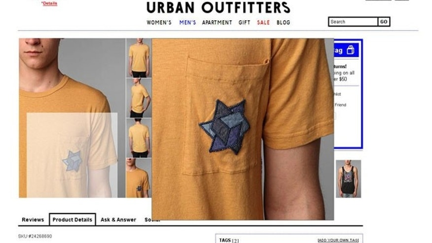 A screenshot of Urban Outfitters online catalog shows a t-shirt that the Anti-Defamation League says is offensive for featuring perceived Holocaust imagery.