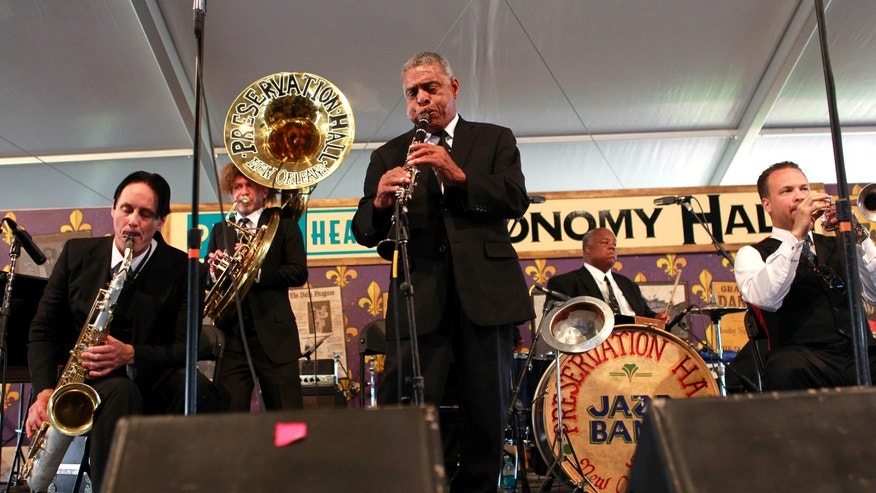 The Preservation Hall Jazz band performs at the New Orleans Jazz and Heritage Festival in New Orleans, Saturday, May 5, 2012. (AP Photo/Gerald Herbert)