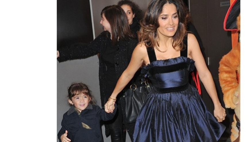 "Nov. 20, 2012: Salma Hayek and daughter Valentina attend the ""Puss in Boots"" Paris premiere in Paris, France."