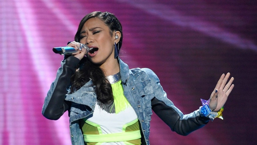 April 4: In this photo released by Fox, Jessica Sanchez performs on the singing competition series 'American Idol' in Los Angeles.