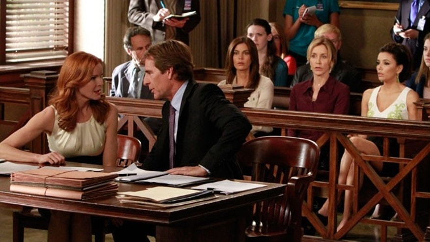 "In this publicity image released by ABC, Marcia Cross, left, and Scott Bakula are shown with, from right, Eva Longoria, Felicity Huffman and Teri Hatcher in a scene from the series finale of ""Desperate Housewives,"" that was shown Sunday, May 13, 2012."