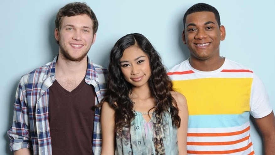 "In this May 10, 2012 photo released by Fox, the final three contestants from the singing competition series ""American Idol,"" from left, Phillip Phillips, Jessica Sanchez and Josh Ledet pose in Los Angeles."