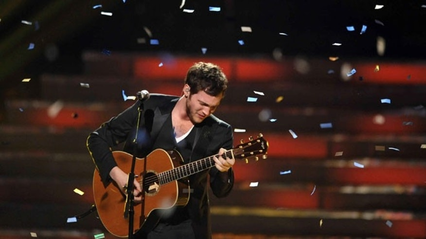 May 23, 2012: Winner Phillip Phillips performs onstage at the American Idol Finale in Los Angeles.