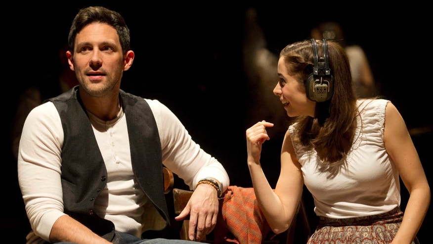 "FILE: Steve Kazee, left, and Cristin Milioti are shown in a scene from ""Once,"" in New York."