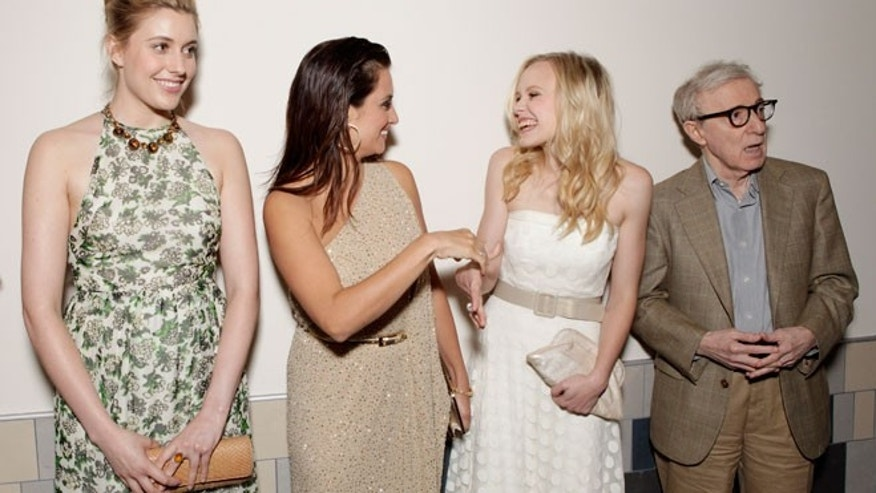 "Greta Gerwig, Penelope Cruz, Alison Pill and writer/director Woody Allen attend the premiere of ""To Rome With Love."""