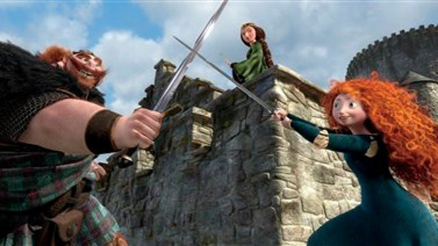 "King Fergus, left, voiced by Billy Connolly, and Queen Elinor, voiced by Emma Thompson and Merida, voiced by Kelly Macdonald, in a scene from Disney/Pixar's movie ""Brave."""