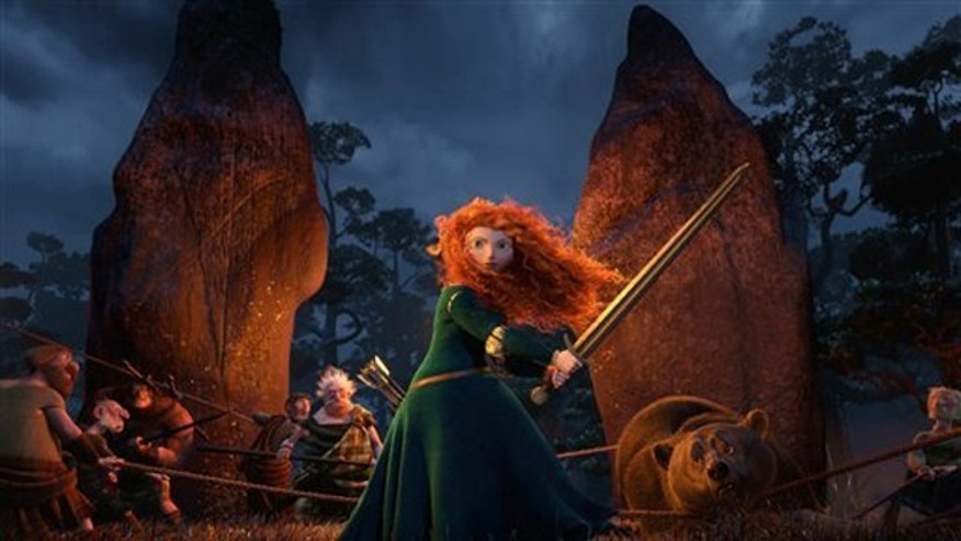 "In this undated publicity image released by Disney/Pixar, Princess Merida, (voice by Kelly Macdonald), is shown in the 3D computer animated Disney/Pixar film, ""Brave,"" releasing June 22, 2012 in North America. Pixar's first female protagonist, Princess Merida, is determined to forge her own future.  This new breed of big-screen damsel not only reflects the independence _ and athleticism _ of young women today, but also Hollywood's increasing willingness to tell their stories. (AP Photo/Disney/Pixar)"