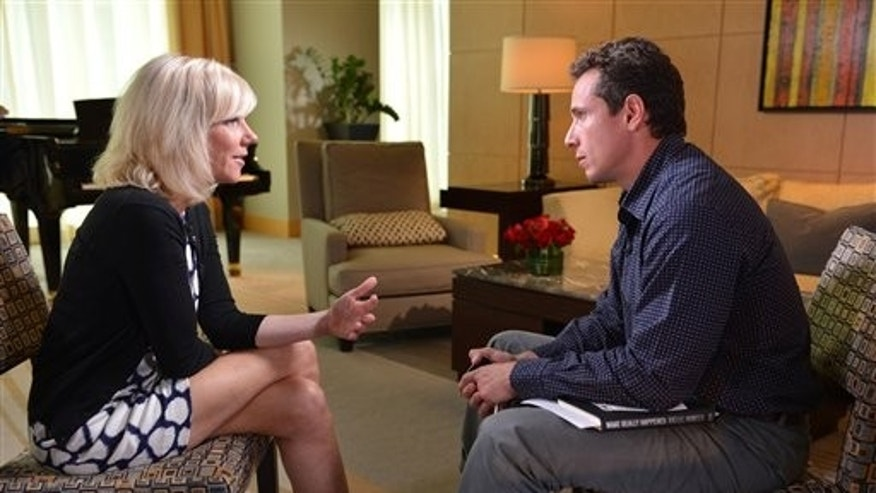June 11, 2012: In this photo provided by ABC, ABC News correspondent Chris Cuomo talks with Rielle Hunter about her relationship with former U.S. Sen. John Edwards, in Charlotte, N.C.