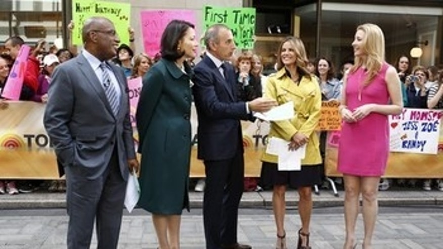 """June 26, 2012:  NBC, """"Today"""" show co-hosts, from left, Al Roker, Ann Curry, Matt Lauer, Natalie Morales talk with Lisa Kudrow on the """"Today"""" show  in New York."""