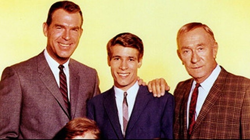 "Don Grady, center, with his ""My Three Sons"" co-stars."