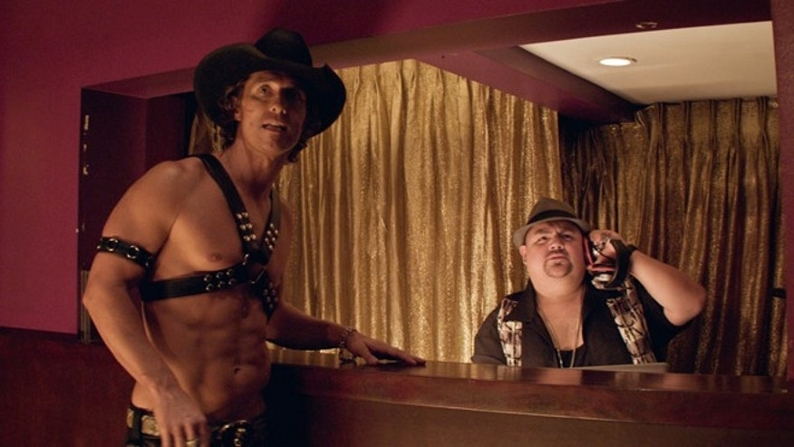 "Matthew McConaughey as Dallas and Gabriel Iglesias in ""Magic Mike."""