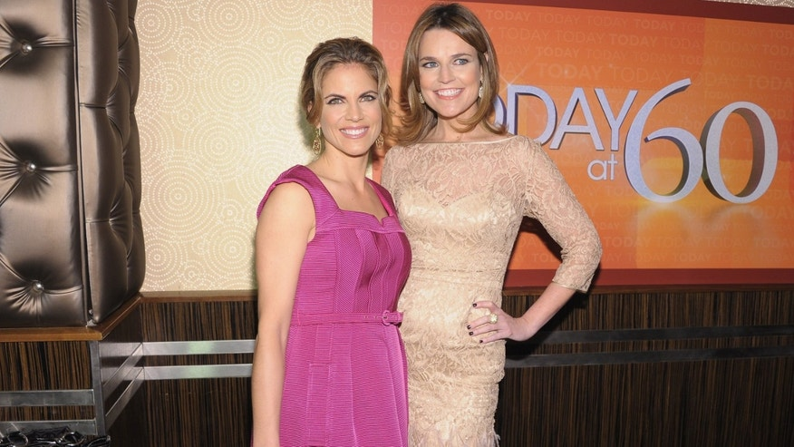 "NEW YORK, NY - JANUARY 12:  (L-R) ""TODAY"" Show correspondents Natalie Morales (L) and Savannah Guthrie attend the ""TODAY"" Show 60th anniversary celebration at The Edison Ballroom on January 12, 2012 in New York City.  (Photo by Michael Loccisano/Getty Images)"
