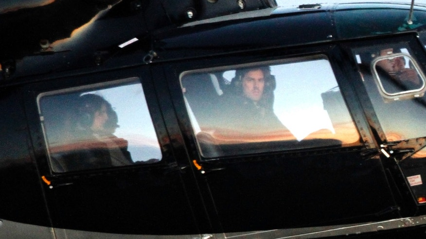 A helicopter believed to be carrying actor Tom Cruise arrives at the airport in Reykjavik, Iceland on June 3, 2012.