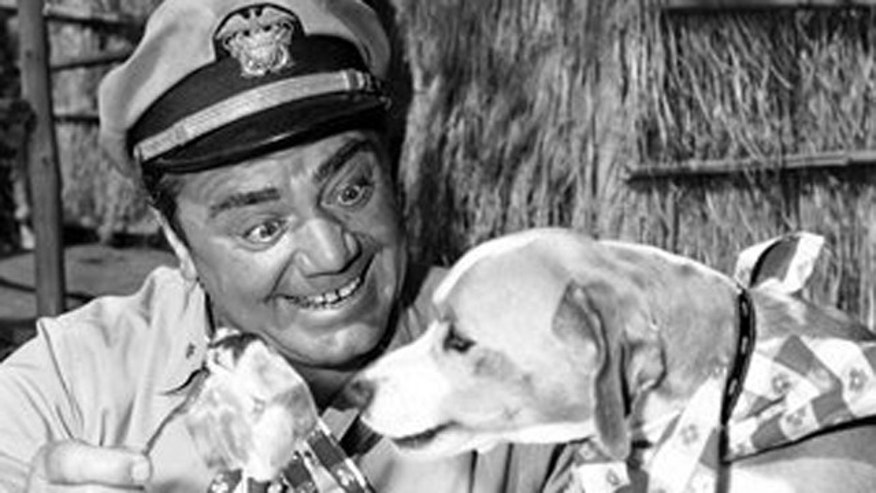 "FILE -rnest Borgnine acts in a scene for ABC-TV's ""McHale's Navy."""