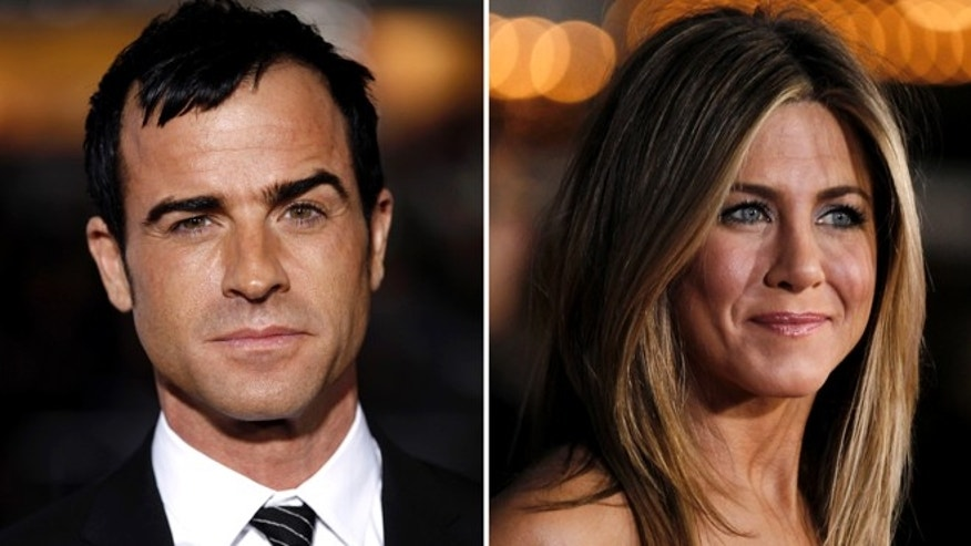 Feb. 16, 2012: These file photos shows Justin Theroux, left, and Jennifer Aniston. Aniston's rep, Stephen Huvane, on Sunday, Aug. 12, 2012 confirmed to The Associated Press that Theroux and the actress are engaged.