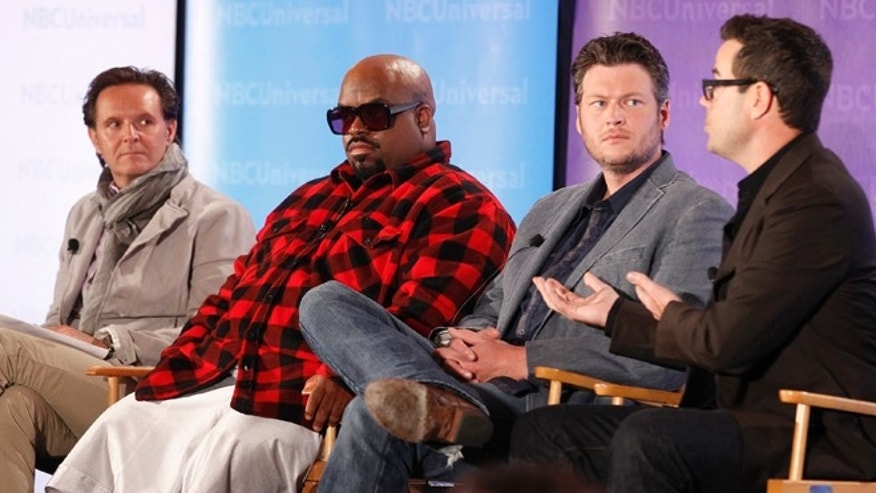 "April 18, 2012: Reality series ""The Voice"" executive producer Mark Burnett (L-R), coaches CeeLo Green and Blake Shelton, and producer and host Carson Daly take part in a panel discussion at the NBC Universal Summer Press Day 2012 in Pasadena, California."