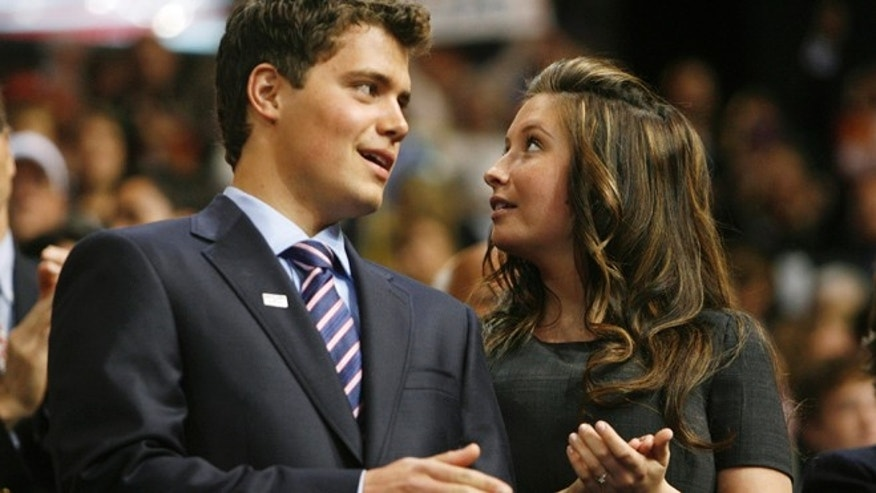 Sept. 3, 2008: File photo shows Levi Johnston talking with his then-girlfriend Bristol Palin in the VIP box on the floor of the 2008 Republican National Convention in St. Paul, Minnesota.