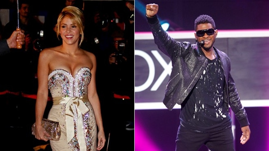 Colombian singer Shakira, left, arrives at the Cannes festival palace on Jan. 28, 2012; Singer Usher performs at the Microsoft XBox news briefing during the E3 game expo in Los Angeles on June 4, 2012.