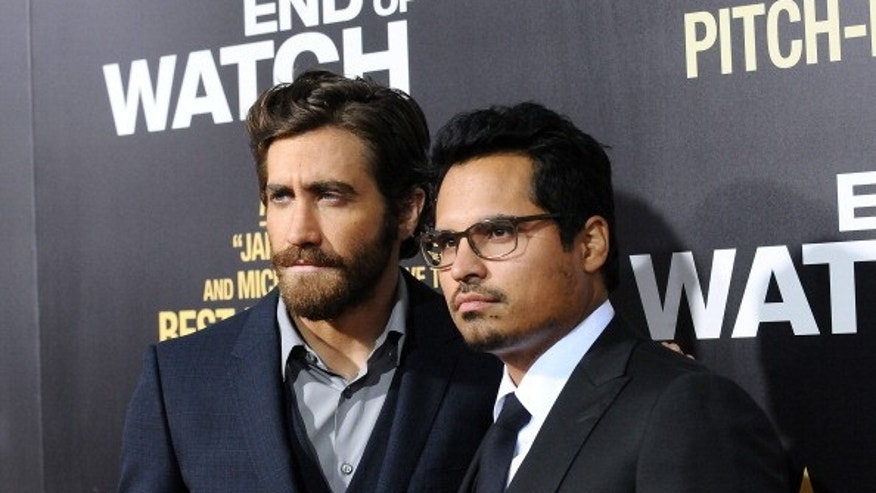 Actors Jake Gyllenhaal and Michael Pena attend the premiere at Regal Cinemas L.A. Live in Los Angeles, California.