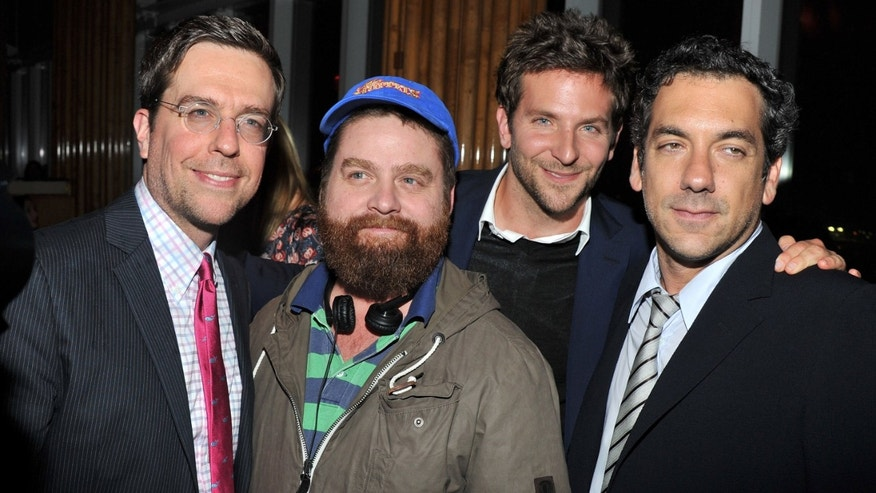 "May 23, 2012: Actor Ed Helms, actor Zach Galifianakis, actor Bradley Cooper, and director Todd Phillips attend the after party for the Cinema Society & Bing screening of  ""The Hangover Part II"" at The Top of The Standard in New York City."