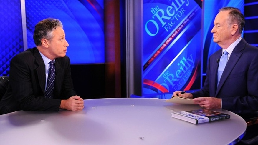 "Sept. 22, 2010:This file photo shows Comedy Central's Jon Stewart from ""The Daily Show with Jon Stewart"" left, and and political pundit Bill O'Reilly during an interview for ""The O'Reilly Factor"" on FOX News Channel, in New York."
