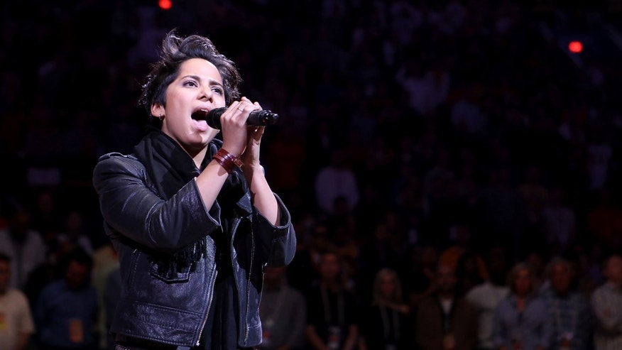 PHOENIX, AZ - FEBRUARY 19:  Musician Vicci Martinez performs the National Anthem before the NBA game between the Los Angeles Lakers and the Phoenix Suns at US Airways Center on February 19, 2012 in Phoenix, Arizona. The Suns defeated the Lakers 102-90. NOTE TO USER: User expressly acknowledges and agrees that, by downloading and or using this photograph, User is consenting to the terms and conditions of the Getty Images License Agreement.  (Photo by Christian Petersen/Getty Images)