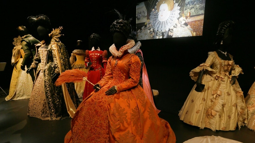 Oct. 16, 2012: A selection of costumes showing various designs and outfits worn by actress playing royal and regal characters seen at the Hollywood Costume exhibition at the Victoria and Albert museum in London.