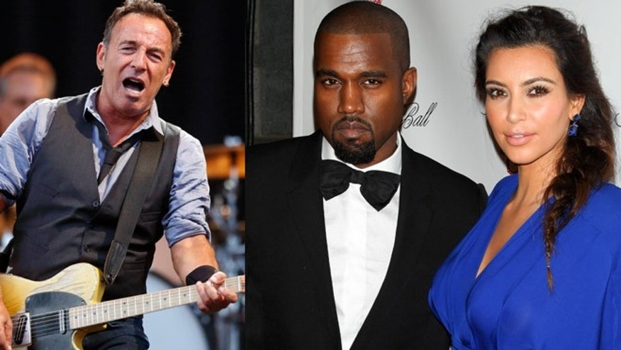 Bruce Springsteen and Kanye West, who dates Kim Kardashian, are likely performers. They'll appear together next on Monday at an Obama rally.
