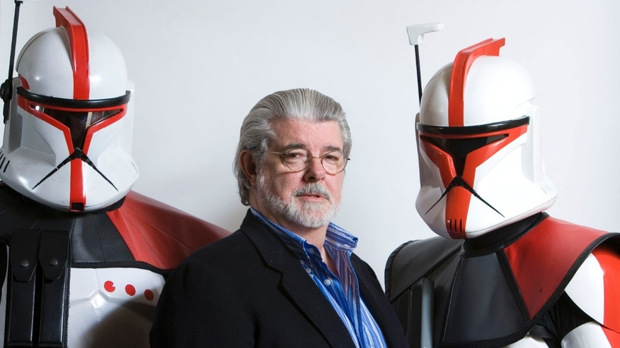 "March 13, 2008: File photo, director/producer George Lucas poses for portrait in Las Vegas.  Lucas wrote and produced the upcoming movie ""Star Wars: The Clone Wars.""Theres no mistaking the similarities."