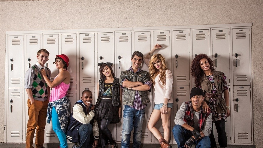 "Group shot from Adam Irigoyen's music video for ""School Girl."""